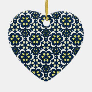 Sterne und Mond Tessellation Keramik Herz-Ornament