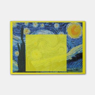 Sternenklare Nacht im gelben Post-It Post-it Klebezettel