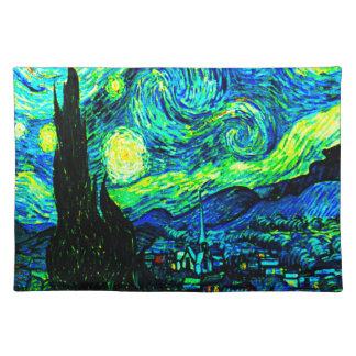Sternenklare Nacht Vincent van Goghs erhöht Stofftischset