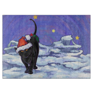 Sternenklare Nachtschwarze Katzen-Weihnachten Schneidebrett
