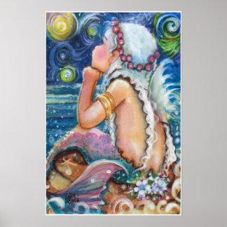 Sternenklare, sternenklare Nachtmeerjungfrau Poster