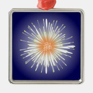 Sternexplosion Quadratisches Silberfarbenes Ornament