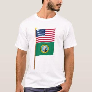 Sternflagge US 43 auf Pfosten mit Washington T-Shirt