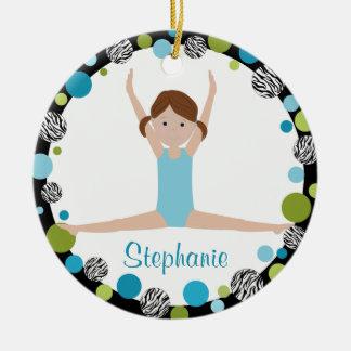 Sterngymnast-Brown-Pferdeschwänze im Aqua und im Keramik Ornament