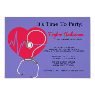 Stethoskop-Krankenpflege-SchulAbschluss-Mitteilung 12,7 X 17,8 Cm Einladungskarte