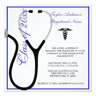 Stethoskop-Krankenpflege-SchulAbschluss-Mitteilung Quadratische 13,3 Cm Einladungskarte