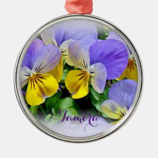 Stiefmütterchen - lila asnd Gelb Silbernes Ornament