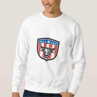 Stier-Kuh-Kopf USA-Flaggen-Wappen-niedriges Sweatshirt