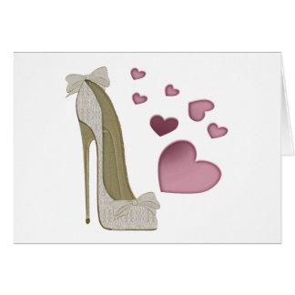 Stilett und rosa Herz-Kunst Karte