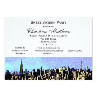 Stilisierter breiter Bonbon 16 H NYC Skyline-#4 12,7 X 17,8 Cm Einladungskarte