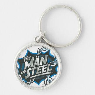 Stilisierter | Mann des Supermann-des Silberfarbener Runder Schlüsselanhänger