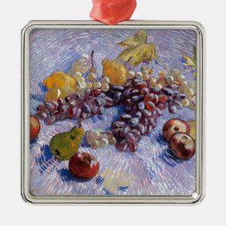 Stillleben: Äpfel, Birnen, Trauben - Van Gogh Quadratisches Silberfarbenes Ornament
