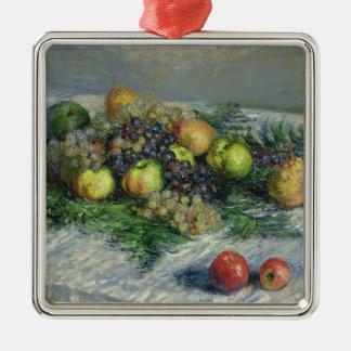 Stillleben Claude Monets   mit Birnen und Trauben Quadratisches Silberfarbenes Ornament