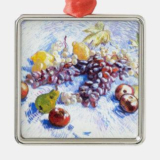 Stillleben mit Äpfeln, Birnen, Trauben - Van Gogh Quadratisches Silberfarbenes Ornament