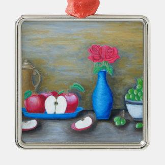 Stilllebenfrüchte Quadratisches Silberfarbenes Ornament