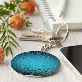 Stilvolle coole Tropfen des blauen Wassers Standard Runder Schlüsselanhänger