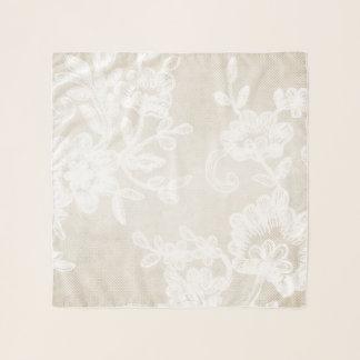 Stilvolle Elfenbein-Blumen-Vintager Schal