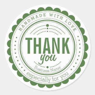 Stilvolle grüne weiße handgemachte danken Ihnen Runder Aufkleber