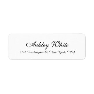 Stilvolle Handschrifts-weißes einfaches elegantes Rückversand-Adressaufkleber