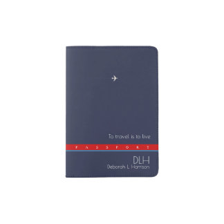 stilvolle Reisepaßabdeckung mit Namen u. Initialen Passhülle