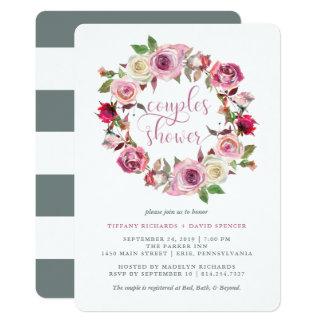 Stilvolle Rosen-und Chic-graue 12,7 X 17,8 Cm Einladungskarte