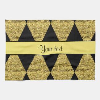 Stilvolle schwarze u. gelbe Glitter-Diamanten Küchentuch