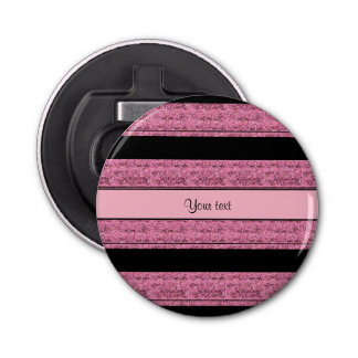 Stilvolle schwarze u. rosa Glitter-Streifen Flaschenöffner