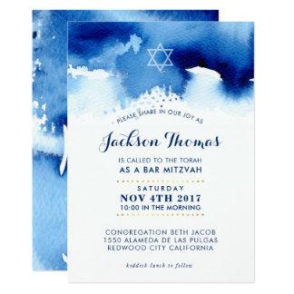 Stilvoller blauer Watercolor des BAR MITZVAH Karte