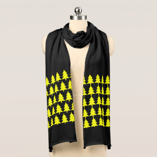 Stilvoller gelber Tannen-Baum-Muster-Jersey-Schal Schal