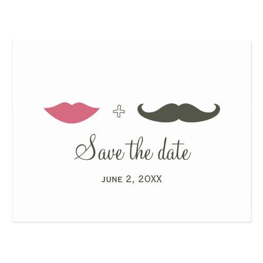 Stilvoller Schnurrbart und Lippen Save the Date Postkarte