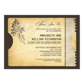 stilvoller Vintager Kartenhochzeitsjahrestag 12,7 X 17,8 Cm Einladungskarte