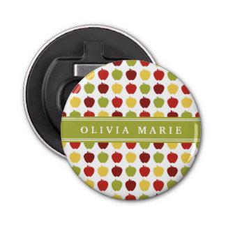 Stilvolles Apple-Muster mit personalisiertem Namen Runder Flaschenöffner