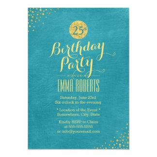 Stilvolles aquamarines u. Gold25. 12,7 X 17,8 Cm Einladungskarte