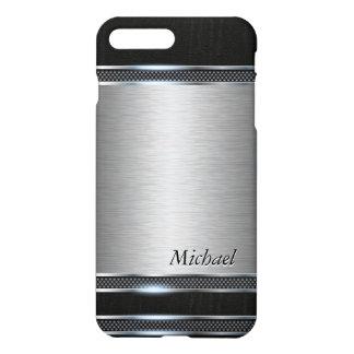 Stilvolles Edelstahl-Metall mit ledernem Blick iPhone 7 Plus Hülle