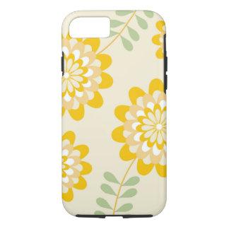 Stilvolles gelbes Blumenmuster - Creme iPhone 8/7 Hülle