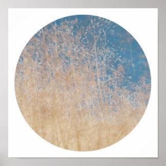Stilvolles goldenes Gras-blauer Poster