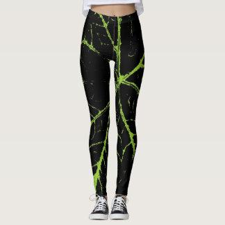 Stilvolles grünes schwarzes Blatt Leggings