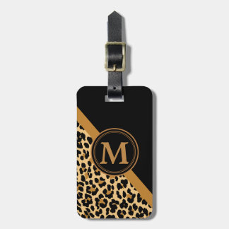 Stilvolles Leopard-Druck-Gewohnheits-Monogramm Kofferanhänger