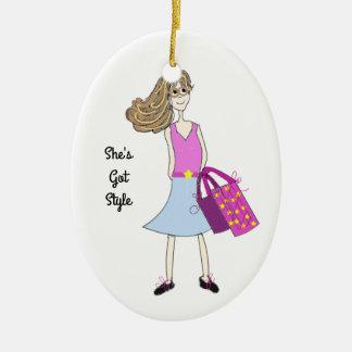 Stilvolles Mode-Mädchen Keramik Ornament