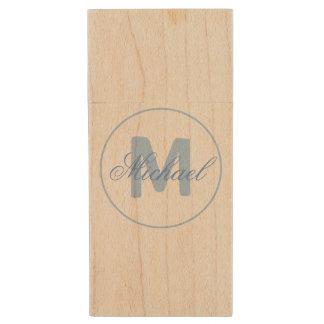 Stilvolles Namen-und Monogramm-Medaillon-Cerulean Holz USB Stick