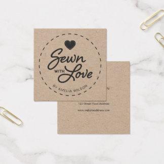 Stilvolles rustikales genäht mit Liebe Kraftpapier Quadratische Visitenkarte