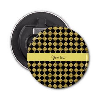 Stilvolles schwarzes u. gelbes Glitter-Schachbrett Runder Flaschenöffner