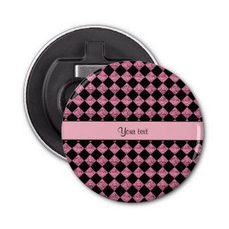 Stilvolles schwarzes u. rosa Glitter-Schachbrett Runder Flaschenöffner