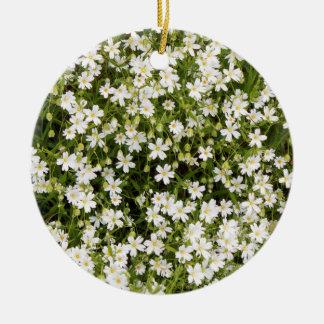 Stitchwortstellaria-wilde Blumen-runde Verzierung Rundes Keramik Ornament