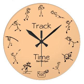 Stock mit Sport-Bahn-Zeitdecathlon-Uhr Wanduhren