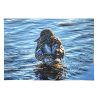 Stockenten-Ente im Winter-Fluss- Tier-Foto Tischset