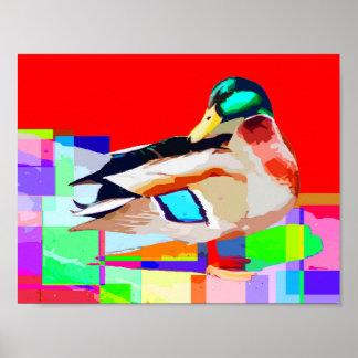 Stockenten-Enten-Pop-Kunst-Porträt-Malerei Poster