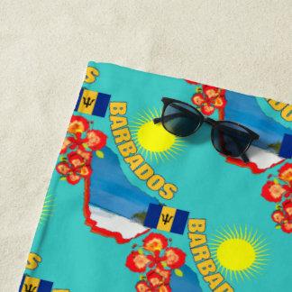 Stolz des Barbados-Blumen-u. -karten-sonnigen Strandtuch