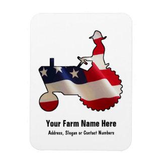 Stolzer amerikanischer Bauer USA-Flaggen-Traktor Eckiger Magnet