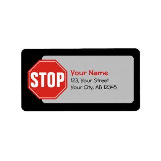 Stoppschild Adressaufkleber